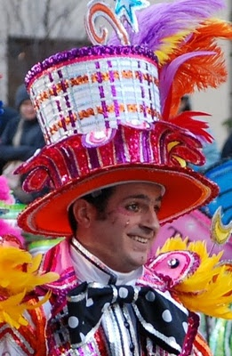 Member of the Ferko String Band getting ready to perform on New Year's Day 2012 in the Philadelphia Mummers Parade