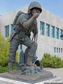 "The World War II ""Navajo Code Talker"" is always visible in front of the Gallup Cultural Center, along with a large sculpture of Navajo Chief Manuelito. Gallup, NM."