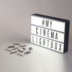 Create Your Ultimate Cinema Sign Our XL Cinema Lightbox is TWICE the size of the Original Cinema Lightbox and comes with 100 interchangeable letters, numbers, and characters in black and red to create