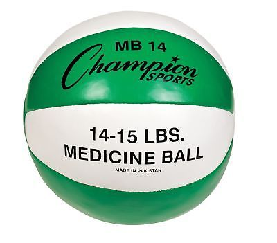 Medicine Weighted Balls 137861: 14-15 Lbs Leather Medicine Ball Great Cross Trainer For Any Sport, Green White -> BUY IT NOW ONLY: $39.5 on eBay!