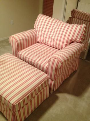 overstuffed chairs and ottomans with stripes haverty s quality overstuffed chair and ottoman red and