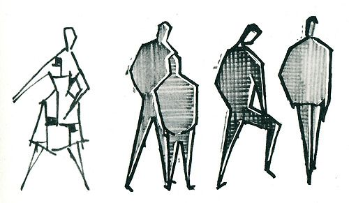 Group, from Graphic Design in Architectural Renderings, 1960. Drawings by Gerd Zimmerschied.