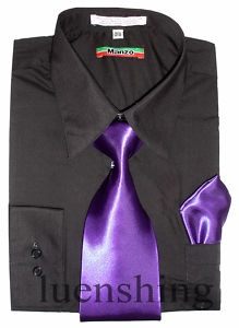Groomsmen black shirt with purple tie and coral boutineer for Ties that go with purple shirts