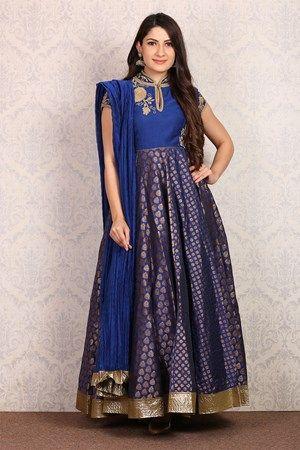 Indigo Anarkali Poly Mettalic Suit Set by Rohit Bal