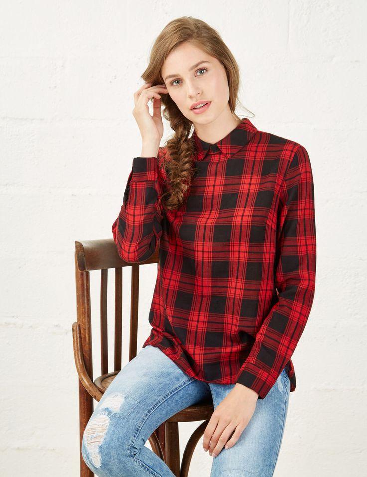 chemise a carreaux courte femme style chemise manche. Black Bedroom Furniture Sets. Home Design Ideas