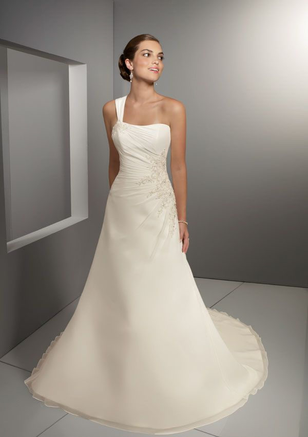 funky one shoulder empire wasit applique organza satin chapel train wedding dress for brides