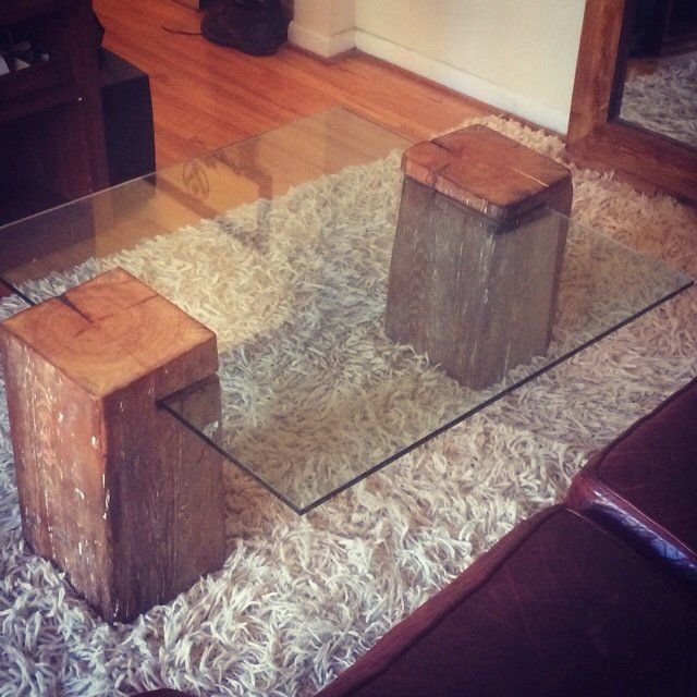 """Made from 100% recycled materials. The beams are solid wood and are approximately 9""""x11""""x19"""". The glass is 7/16"""" thick and measures 36""""x36"""". The table is sturdy but I ..."""