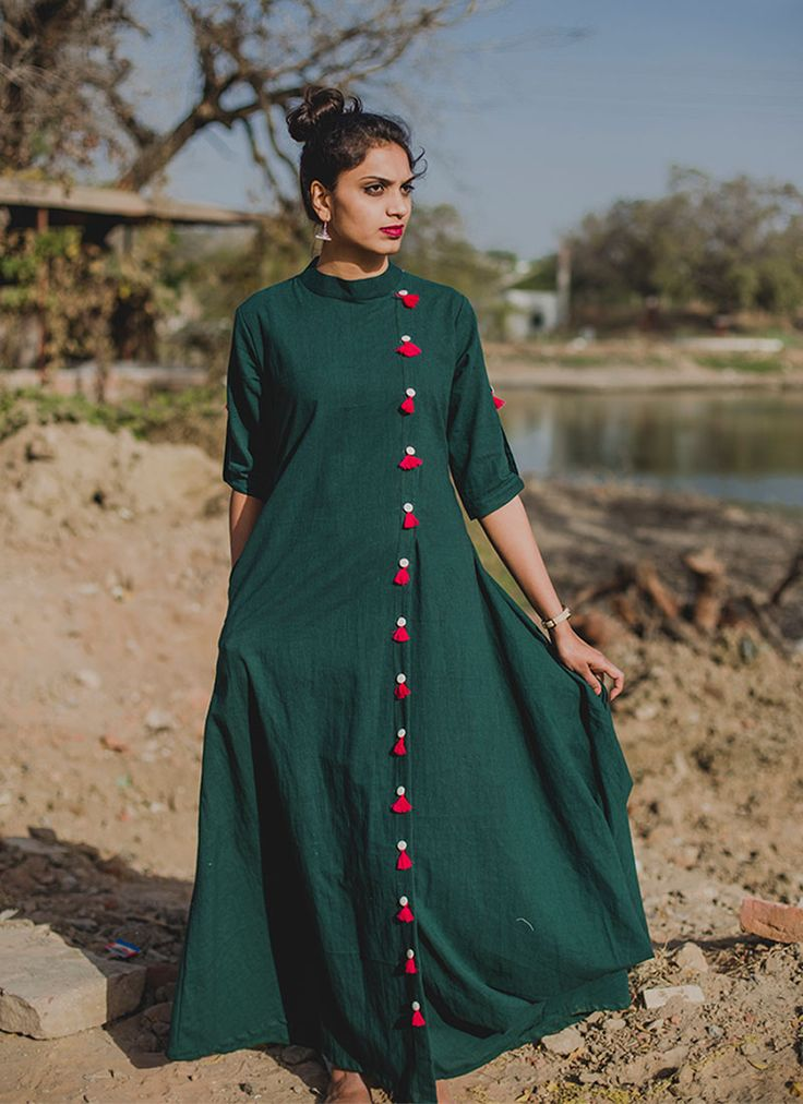 Green Tasseled Fusion Gown