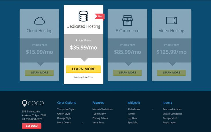 Pricing tables from Coco Premium Joomla template by Scott Greenwald http://joomladirect.com