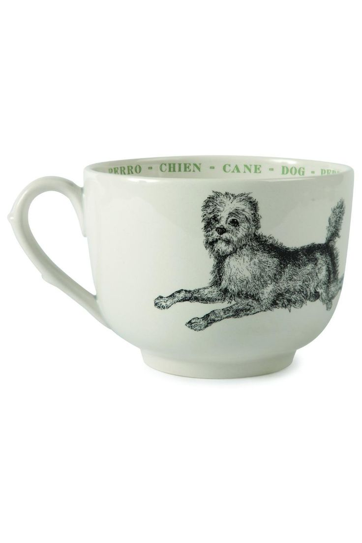 Adorned with beautifully detailed black & white image of a dog, these grand cups are not only perfect for coffee & lattes but cereal, soup, chili, yogurt, ice cream or any treat!    Dog Grand Cup by BUDD + FINN. Home & Gifts - Home Decor - Dining Portland, Oregon