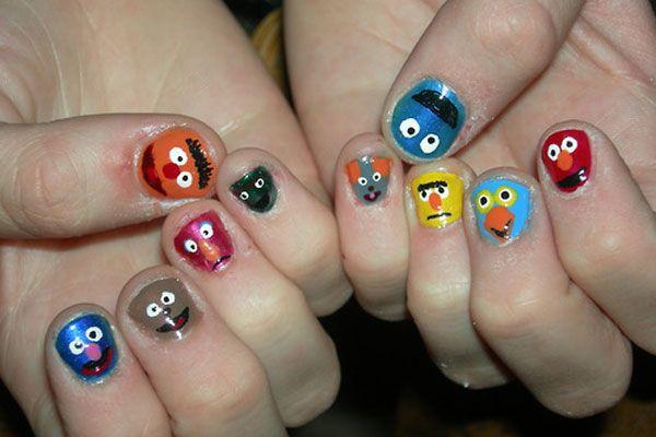 .Street Nails, Nailart, Nails Design, Crazy Nails Art, Seasame Street, Nails Polish, Sesame Streets, Cartoons Nails, Muppets Nails