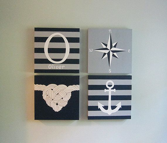 Any Color, Set of 4, Nautical Canvas Art, Initial and Name, Heart Knot, Compass, and Anchor Canvas Art, Handpainted, Personalized, 12x12""