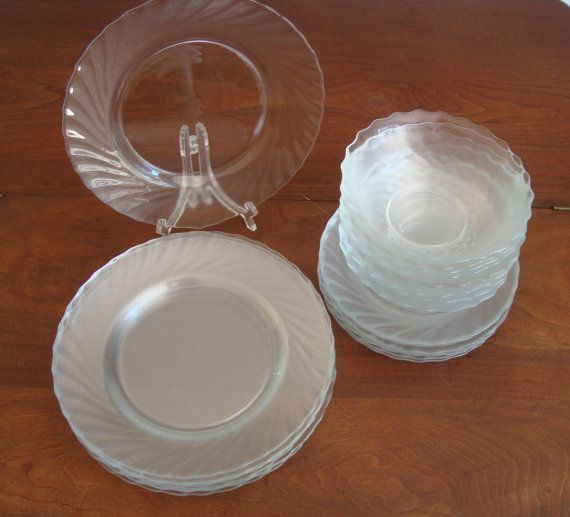 Arcoroc Glass Dishes Dinnerware Set of 8 Clear by RamblinRanch $100.00 & 89 best Dish Arcoroc images on Pinterest | Dish Plates and Dinnerware