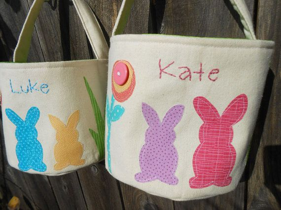 Personalized Easter Basket with Easter Bunnies | HANDMADE Canvas Fabric Easter Basket | Pick your Easter Bunny Color for Basket