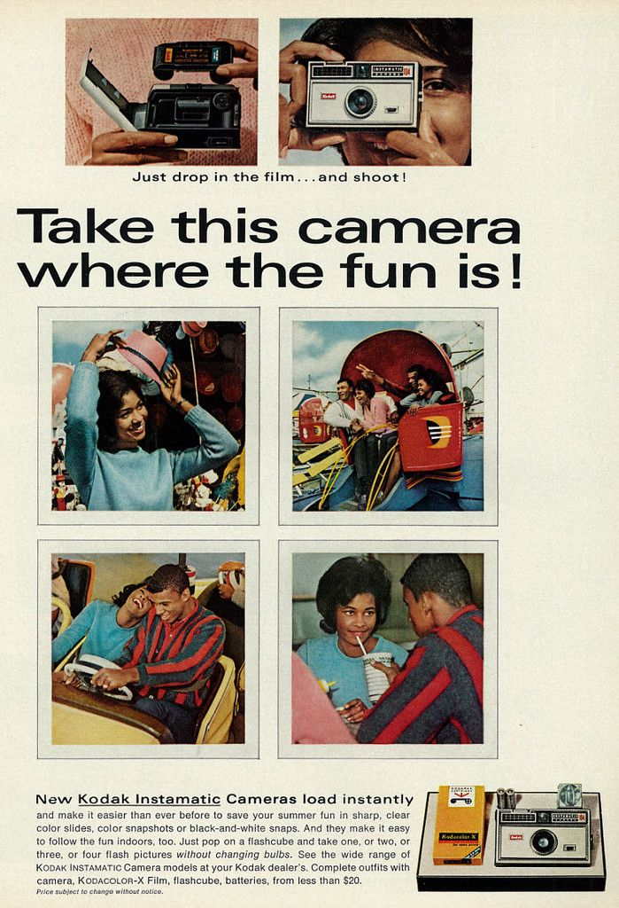 "https://flic.kr/p/k3W3rf | 1966 Ad, Kodak Instamatic Camera & Film, Cute Girl & Guy at 60's Amusement Park | Vintage 1960s magazine advertisement for Kodak Instamatic cameras and film, 1966 Tagline: ""Take this camera where the fun is!"" Published in Ebony, July 1966 - Vol 21, No. 9 Fair use/no known copyright. If you use this photo, please provide attribution credit; not for commercial use (see Creative Commons license)"