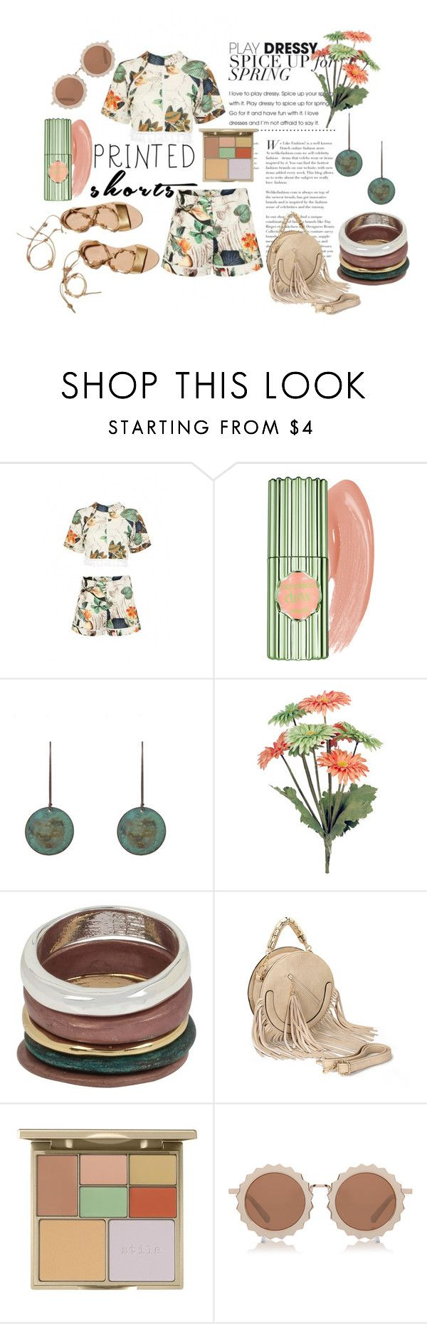 """Prints Charming: A Shorts Story"" by love-blair-serena ❤ liked on Polyvore featuring Benefit, Loeffler Randall, Robert Lee Morris, Stila, House of Holland and printedshorts"