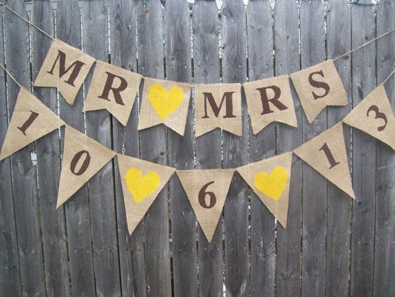 CUSTOMIZED Mr and Mrs Date Photo Prop Rustic Burlap Banner Bunting Sign Garland for Country Chic Wedding Reception Decor Yellow Ivory via Etsy