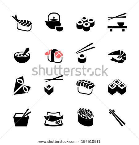 Japanese food Sushi Collection. Web icon set - stock vector