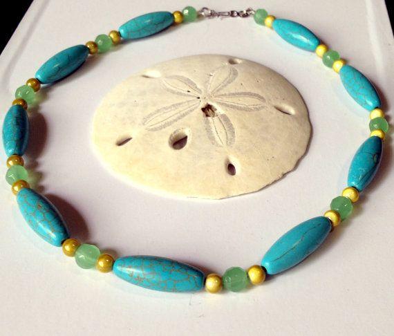 Бирюзовая западный стиль ожерелье / магнезит от designsbysheri