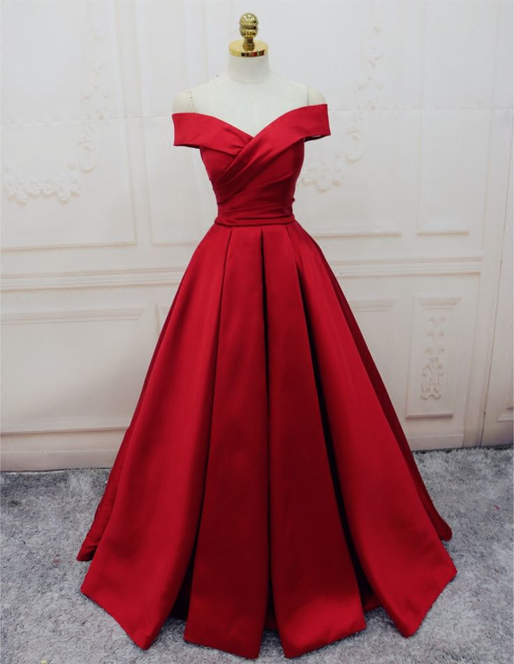 Gorgeous Satin Red Off Shoulder Prom Gowns Lace up, Long Red Gowns, Formal Gowns
