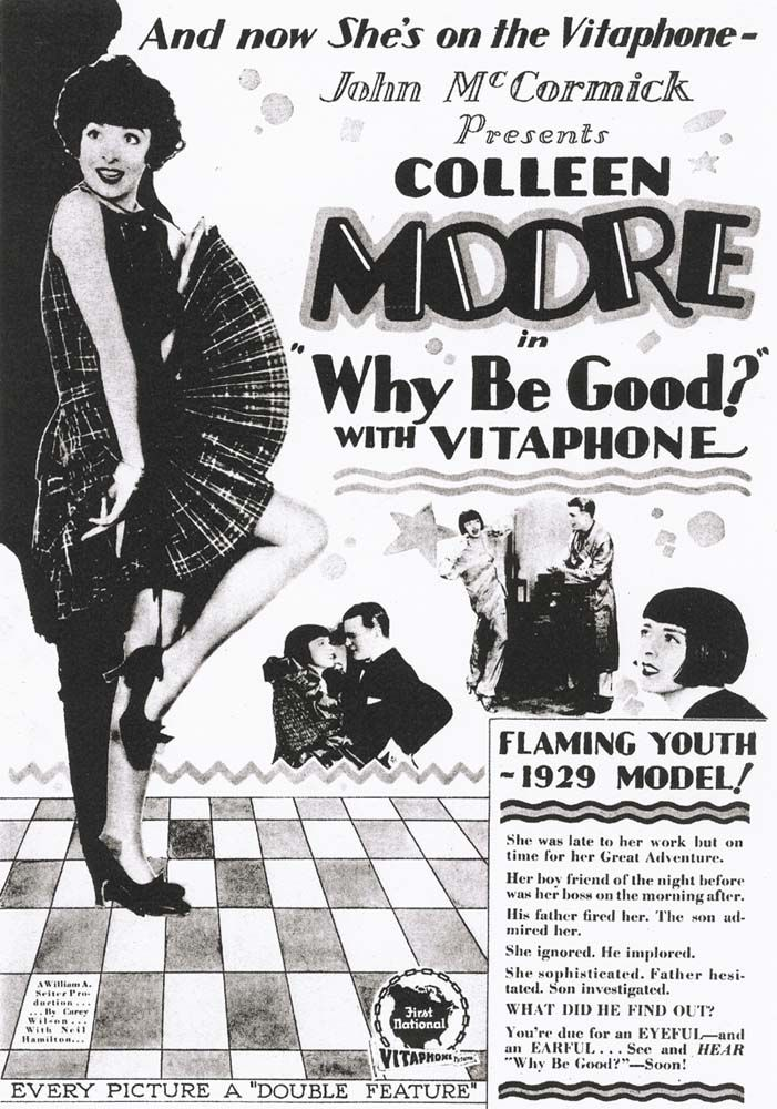 Colleen Moore in Why Be Good? 1929 poster touting Vitaphone sound