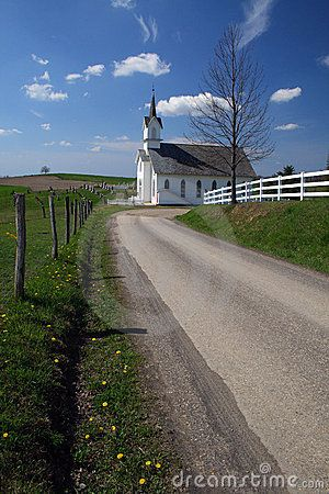 White country church on spring day
