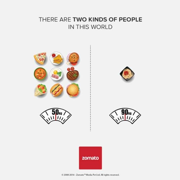 two kinds of people in this world - ad by Zomato - the universe justice