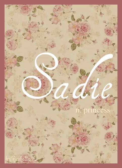 Baby Girl Name: Sadie. Meaning: Princess. Origin: German; English. http://www.pinterest.com/vintagedaydream/baby-names/