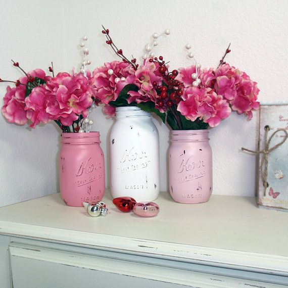 Beautiful Handpainted Mason Jars! Perfect For Valentines Day Decor!!