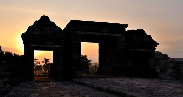 Sunset on Ratu Boko temple of Jogjakarta, Indonesia