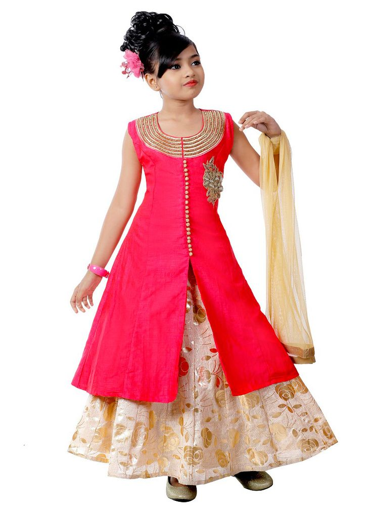 Buy Crimson Pink Kids Long choli A Line Lehenga online, SKU Code: KDKKNT2692. This Pink color girls lehenga for Kids comes with Stones Art Silk . Shop Now!