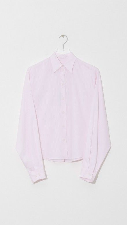Maison Margiela Stripy Popline Shirt in Stripe Light Pink