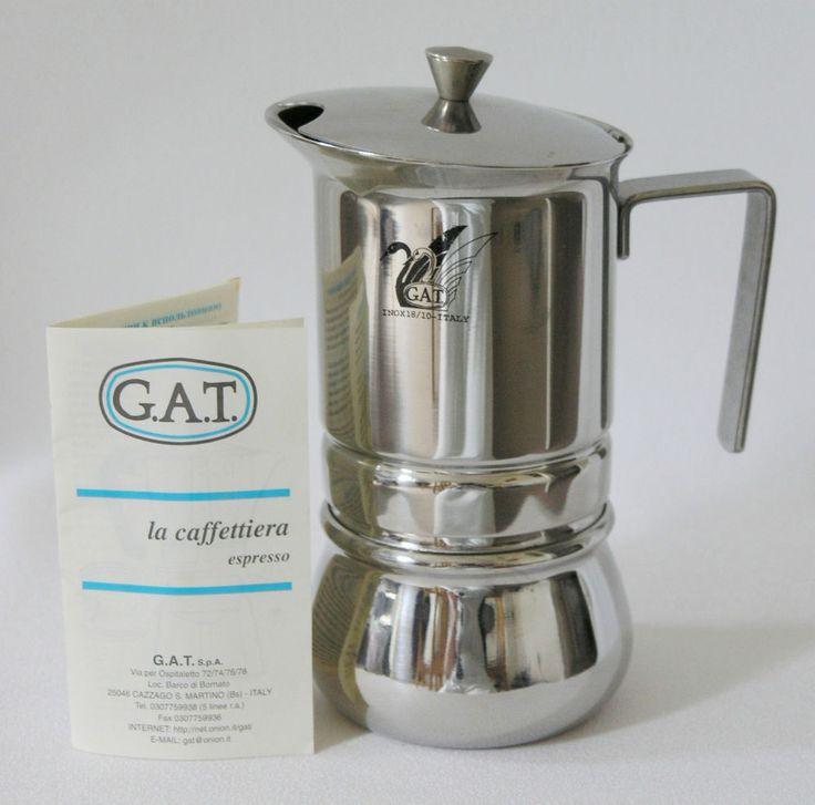 GAT Italy Pratika stove-top coffee maker 4-cup stainless steel, leaflet, unused