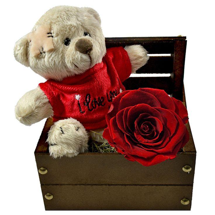 Bau Love E Rosa Encantada Vermelha Amor Presentes De