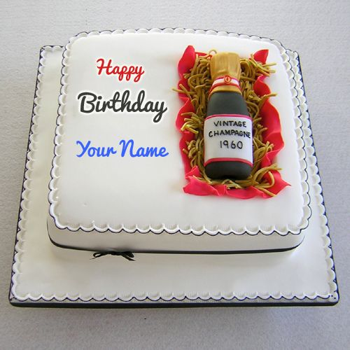 Write Name on Egg less Wine Fruit Birthday Cake Picture