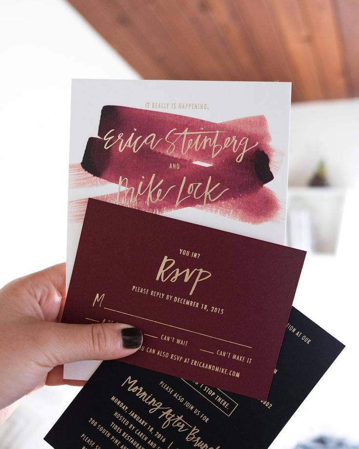 Invitations Champagne Foil on Burgundy 15 best