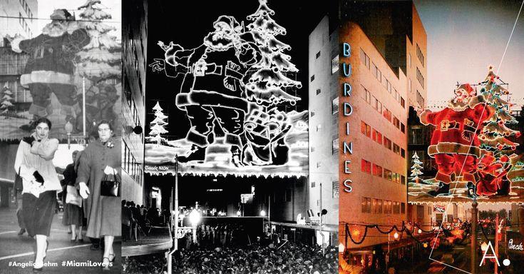 #tbt #Miami Una Ciudad para #Santa. El primer Santa en la ciudad del sol fue encendido el 24 de noviembre de #1950, más de 10,000 residentes locales se reunieron para ser testigos del gran evento. Ha sido uno de los Santas más emblemáticos gracias a #Burdines, el más grande del mundo, sincronizado con neones multicolores al ritmo de música, eregido en el puente peatonal sobre #MiamiAvenue. #Navidad #MiamiLovers #ConectandoEstilodeVida