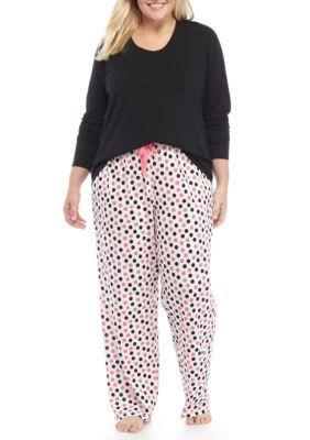 New Directions Women's 3-Piece Pop Dot Pajama Set - Black Dot - 1X