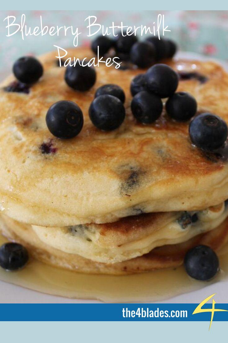 Thermomix Blueberry Buttermilk Pancakes.  Ingredients: SR Flour, baking powder, sugar, buttermilk, eggs, vanilla extract, butter, blueberries, maple syrup.