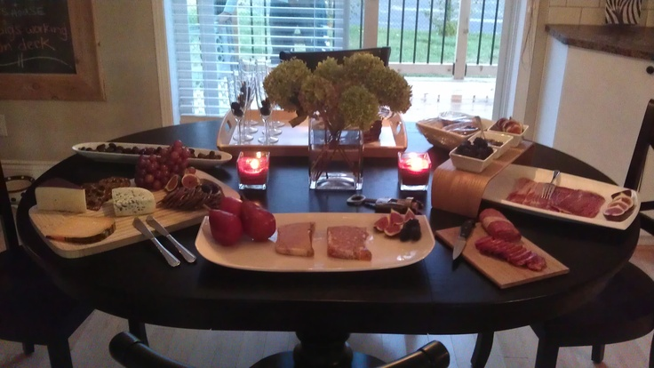 Fall Entertaining - 3 cheese platter, 2 patés platter, kalamata olives, cured meat platter (prosciutto + sopressata), walnut bread, figs, red pears, grapes, caramelized onion sauce. Apperitif = Prosecco Flutes with Blackberries