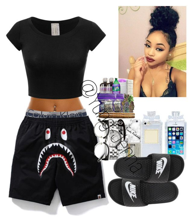 """""""ѕтay нoмe"""" by yung-jenna ❤ liked on Polyvore featuring Calvin Klein and NIKE"""