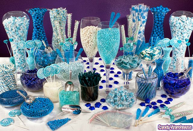 "Blue Candy Buffet    Go ""over the top"" with an astounding array of blue candy delights! As shown in this photograph, sweets can add that extra special touch to your party or event."