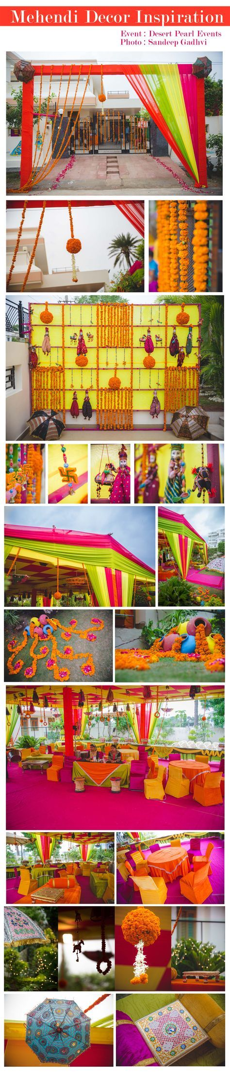 Mehendi Decoration at Udaipur,Rajasthan wedding. All elements of decoration was in traditional rajasthani theme having vibrant colors and props like puppet, umbrella and handmade stuffed decors. Event managed by : Desert Pearl Entertainment