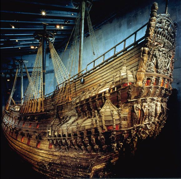 Vasa Ship, sank on its maiden voyage in the 16th century, preserved by the salty water and brought back up mostly intact in the 20th century. Now on display in Stockholm.