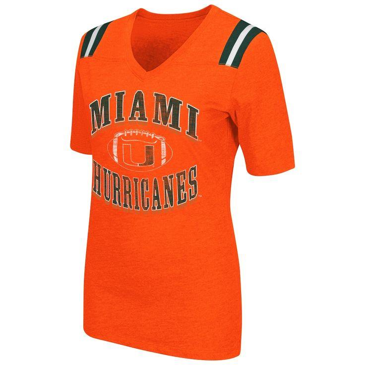 Women's Campus Heritage Miami Hurricanes Distressed Artistic Tee, Size: Medium, Drk Orange