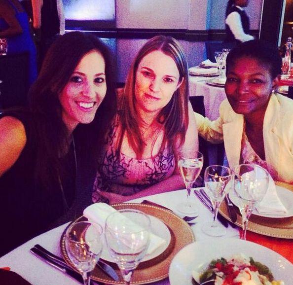 A tweet: The girls are ready for @theprismawards to start! @Sam Robinson @shantallterri @Michelle Lowe #prisms14 #ogilvyprisms