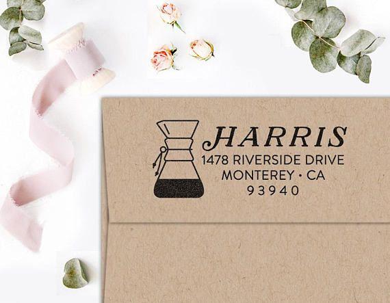 Return Address Stamp Custom Hipster For Coffee JunkiesSelf Inking