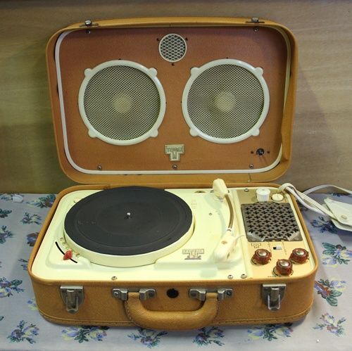 Teppaz suitcase valve record player, UK 1960s