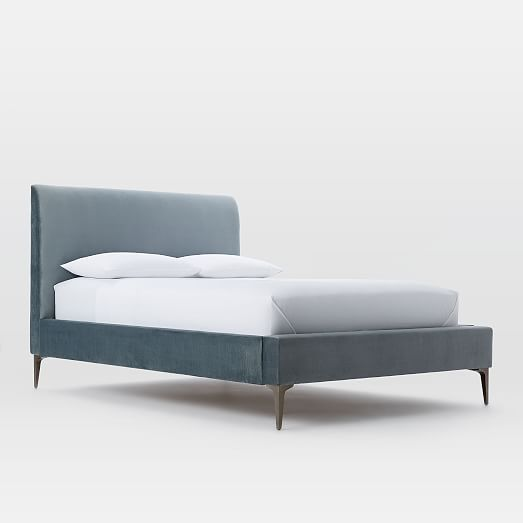 loving this velvet bed frame west elm