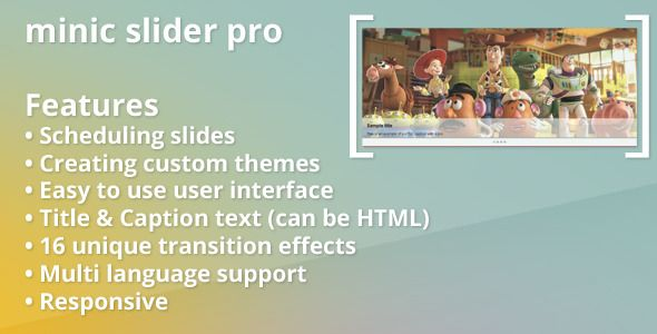 Minic Slider Pro for Prestashop . [ minic slider pro ] is a fancy responsive slider, a dynamic way to show off your products and promotions. User friendly, highly customizable and